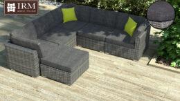 Technorattanowy narożnik ogrodowy, szare meble rattanowe na taras lub do ogrodu. Zestaw mebli w kolorze szarym z szarymi poduszkami
