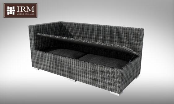 Element modułowy z zestawu mebli ogrodowych z technorattanu z funkcja schowka na poduszki