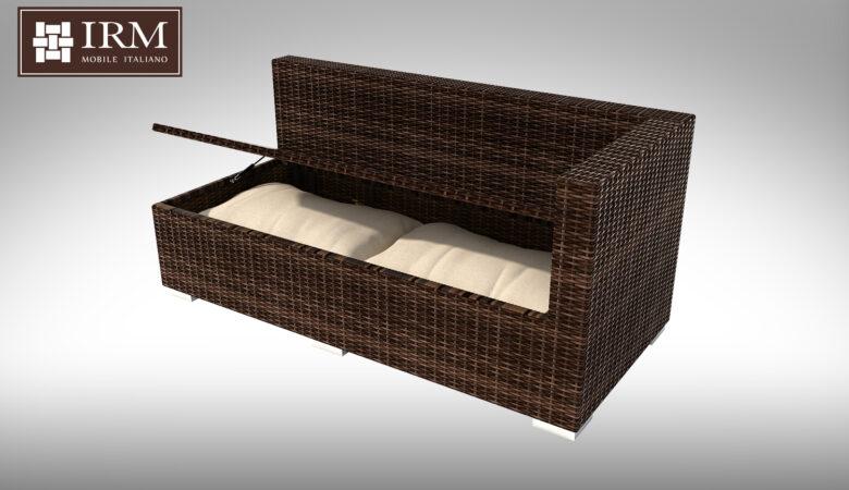 Element modułowy z zestawu mebli ogrodowych z technorattanu z funkcją skrzyni na poduszki