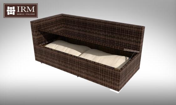 Element modułowy z zestawu mebli ogrodowych aperto z funkcją schowka na poduszki