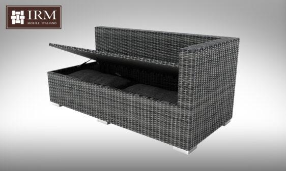 Meble ogrodowe z technorattanu z funkcją skrzyni na poduszki