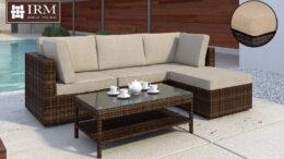 Technorattanowy zestaw mebli ogrodowych w kolorze brązowym z bezowymi poduszkami idealny na taras lub do ogrodu