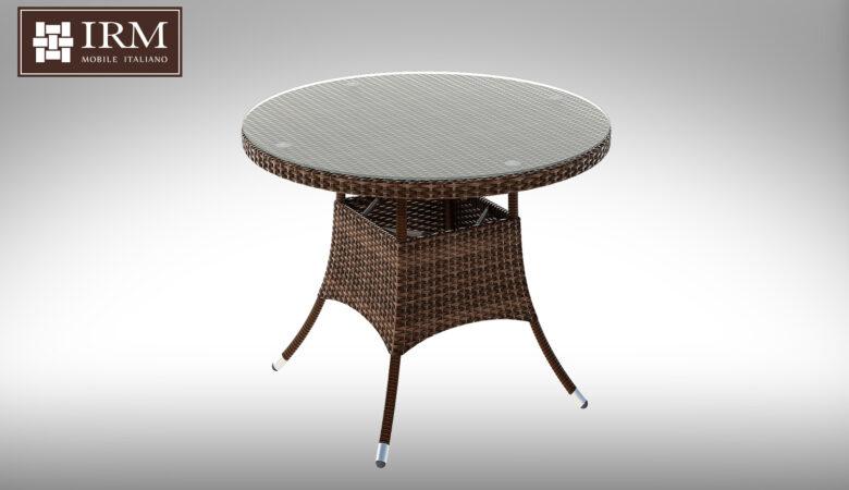 Okrągły stół ogrodowy z technorattanu z fotelami Merlo I NR 0579