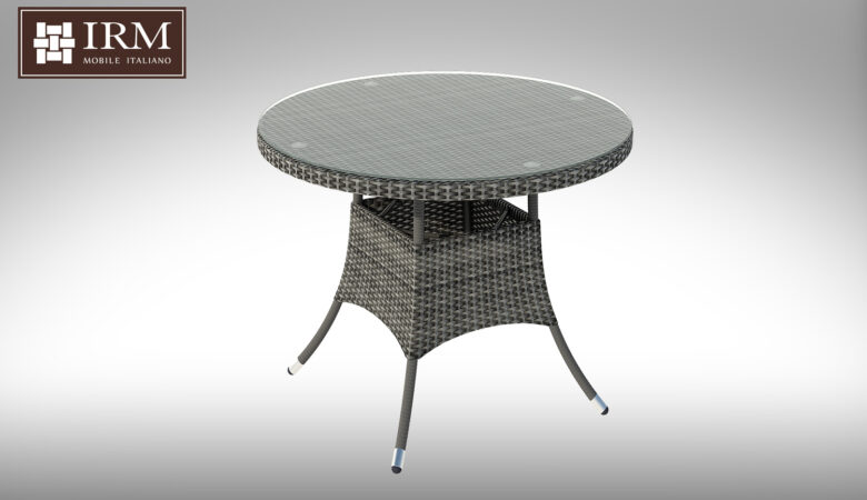 Okrągły stół ogrodowy z technorattanu z fotelami Merlo IV NR 0578