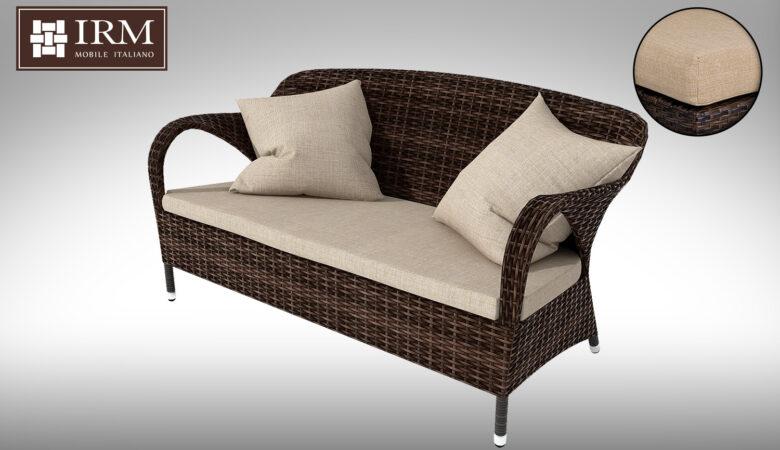 Sofa ogrodowa z technorattanu z zestawu mebli ogrodowych