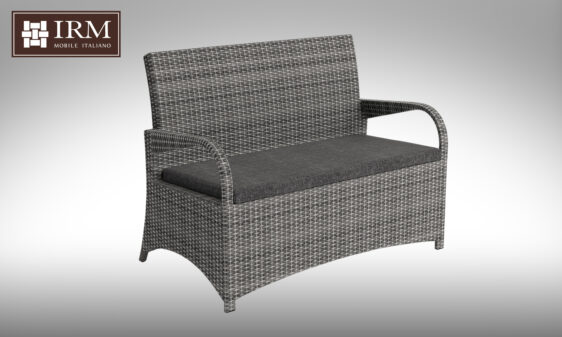 Sofa z zestawu mebli ogrodowych w kolorze szarym