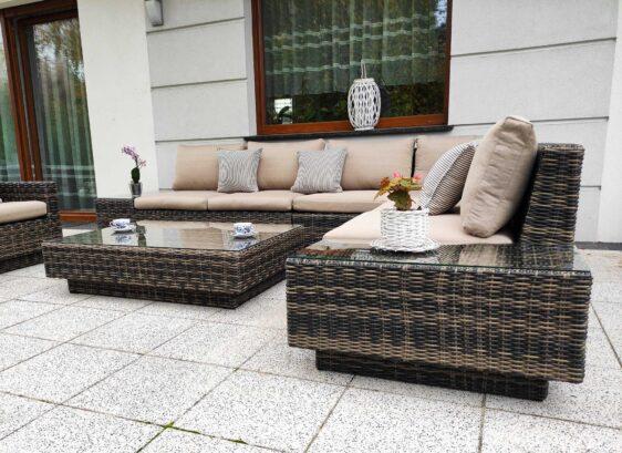 CALABRIA BIG Narożnik na Taras ze stolikami bocznymi i Fotel(e) Ogrodowy