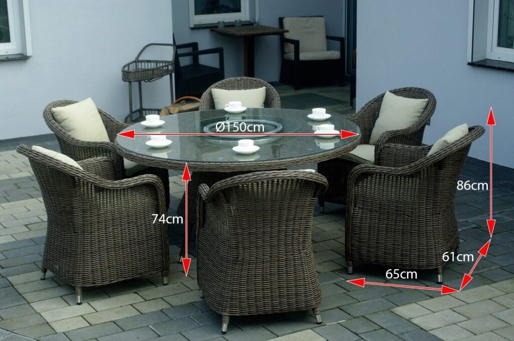 KORYNT 150 Okrągły Stół Ogrodowy 150cm i Fotele Technorattanowe