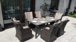 NORTH CLASSIC Ogrodowy stół ceramiczny i fotele technorattan