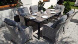 NORTH MODERN Ogrodowy stół ceramiczny i fotele technorattan