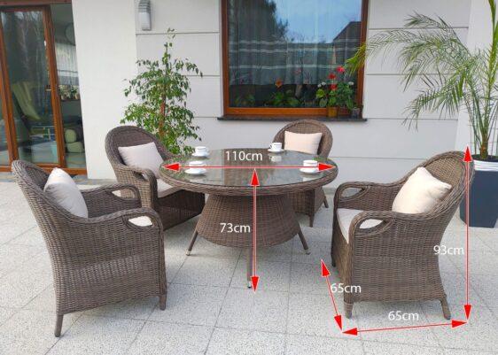OLIMP 110 Mały Stół Okrągły na Taras i 4 Fotele Ogrodowe