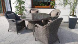 OLIMP 130 Okrągły Stół Ogrodowy I 4 Wygodne Fotele