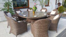 OLIMP 180 Duży Stół Okrągły 180cm i Fotele Ogrodowe 8szt.