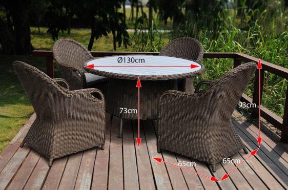OLIMP P 130 Stół okrągły z blatem PE - Imitacja drewna i 4 fotele