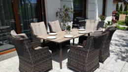 SOUTH CLASSIC Ogrodowy stół ceramiczny i fotele technorattan