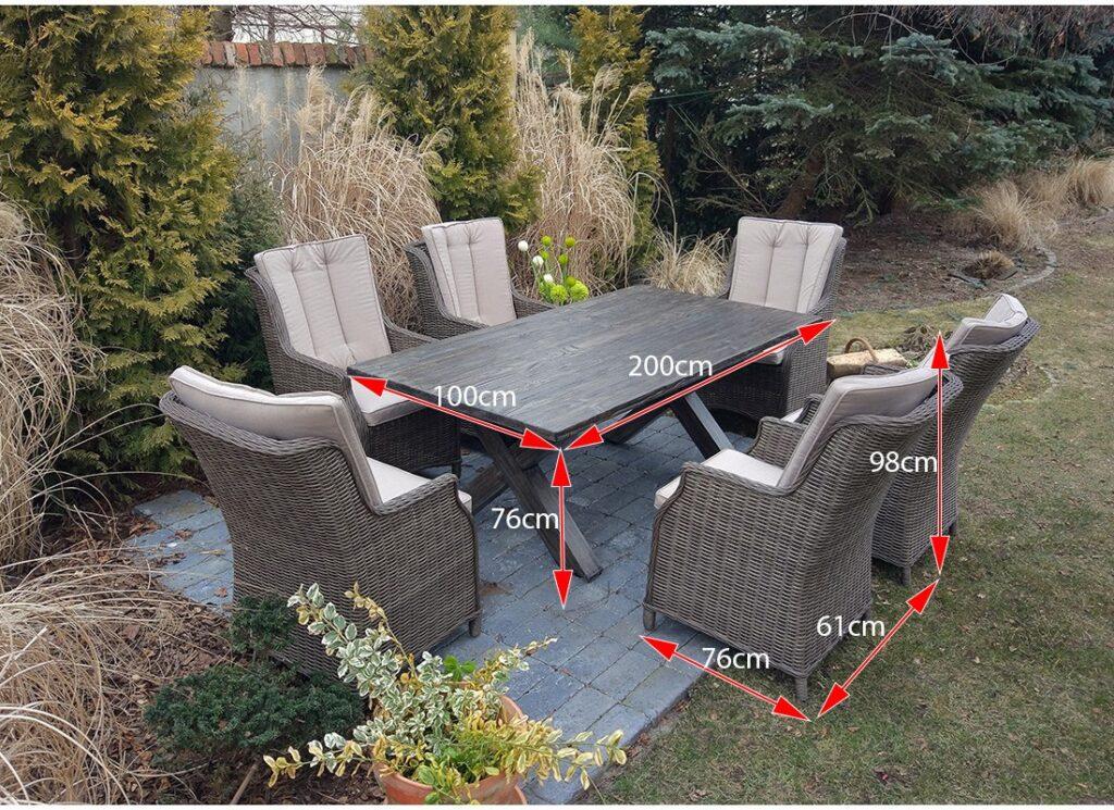 WERONA Stół ogrodowy z kompozytu cementowego i fotele z technorattanu